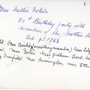 Grenoside Mothers Union celebrating Mrs Bolers 80th Birthday 09 02 63 2 (Overleaf)