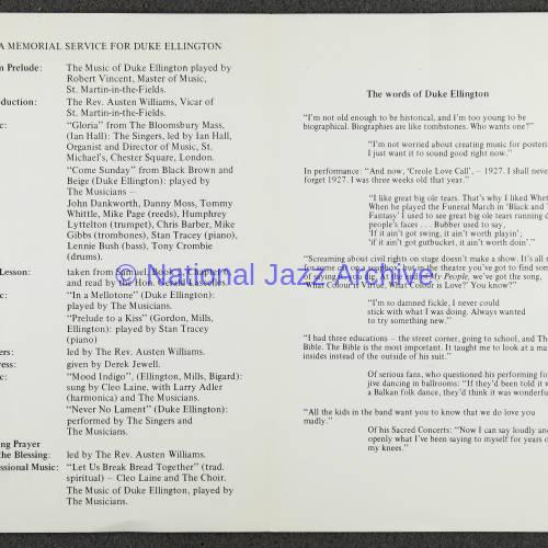 Duke Ellington Memorial Service – London – June 1974 002