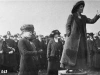 Suffragette Rose Lamartine Yates giving a speech