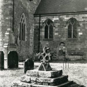 Bodenham Church, base of cross and finial, 1902