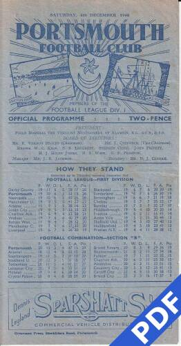 19481204 Official Programme Millwall Home FC