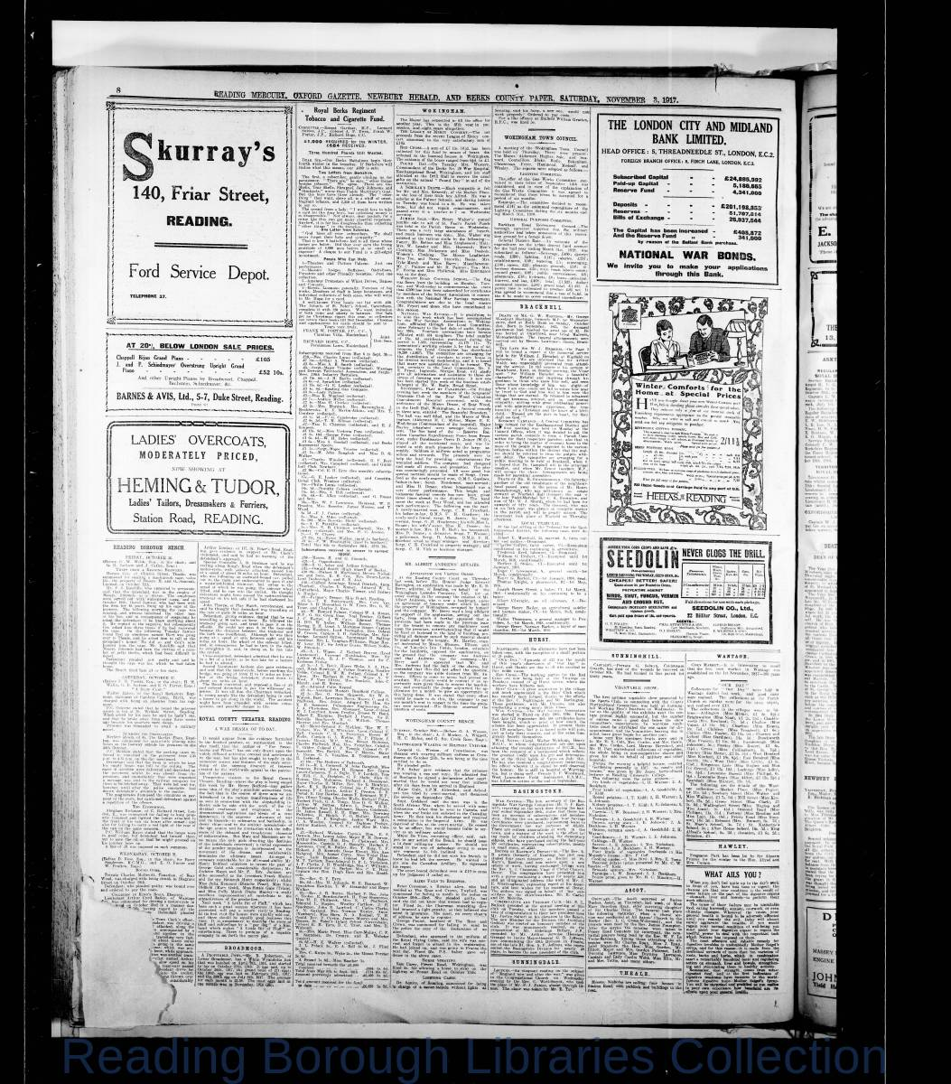 Reading Mercury Oxford Gazette  Saturday, November 3, 1917. Pg 8