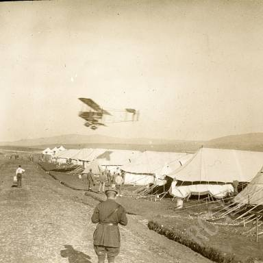 Plane Over Army Camp, Possibly a DH2