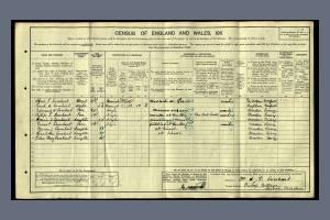 1911 Census for 1 Bishops Cottages, Lower Morden