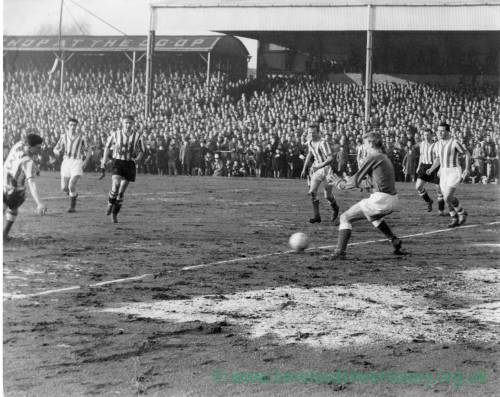 Goalmouth action, 1950s.