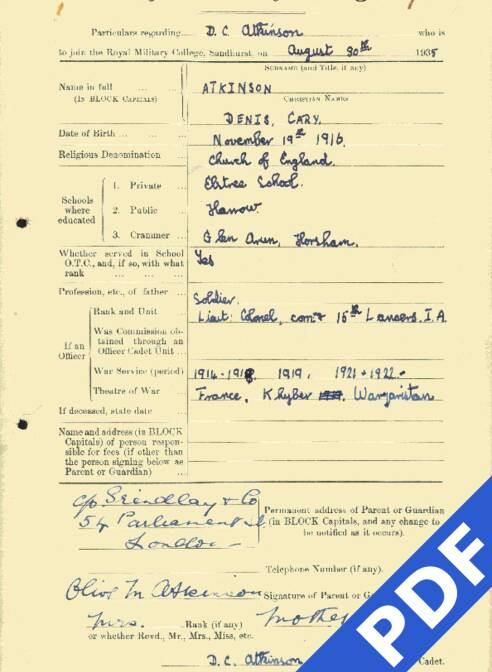 RMC Form 18A Personal Detail Sheets Aug 1935 Intake - page 15
