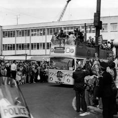 Muhammad Ali in the open top bus