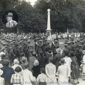The Second Battalion, the Royal Berkshire Regiment, at the War Memorial at Mortimer, 12 July 1929