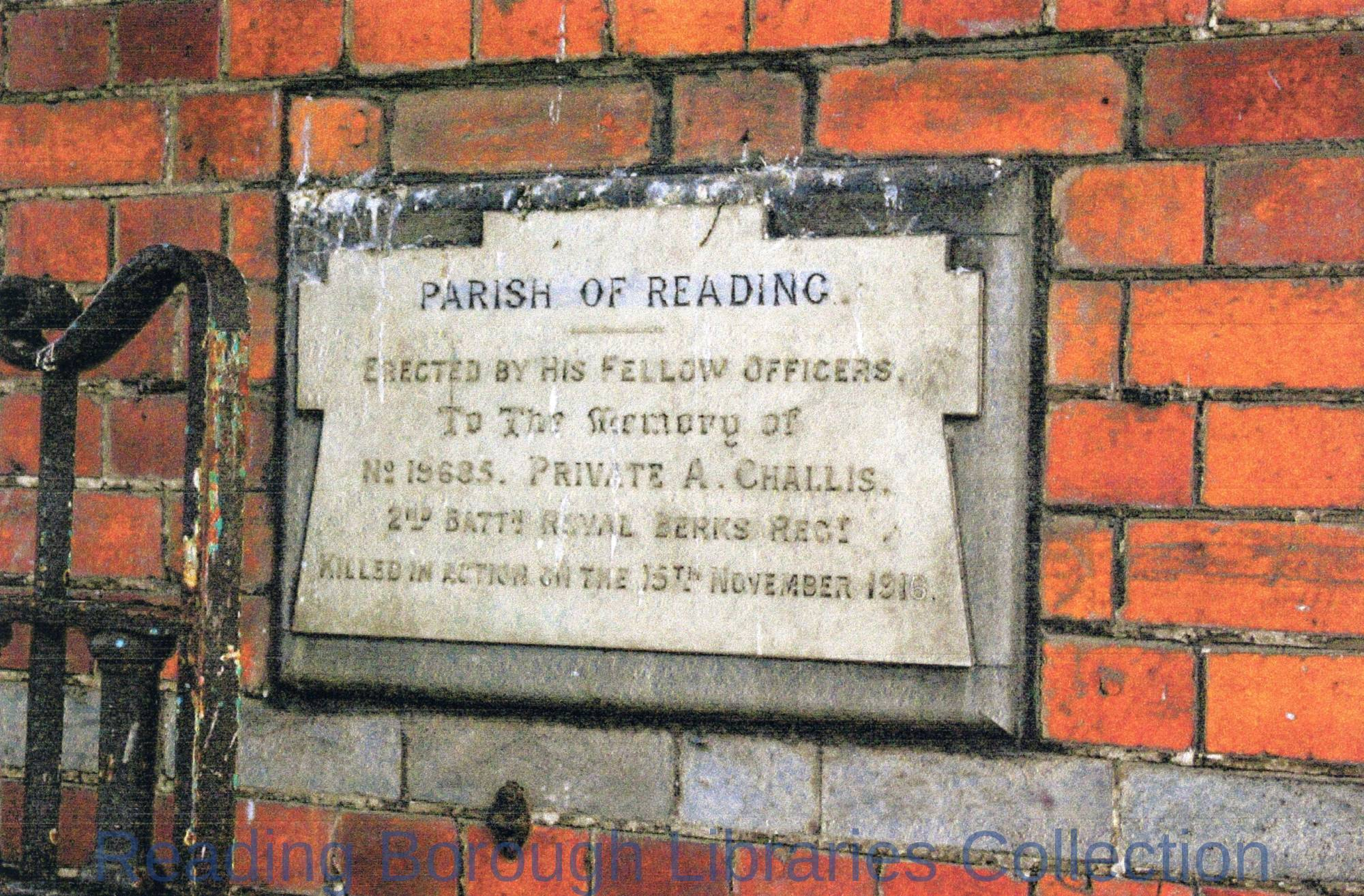 A memorial plaque on the gateway to the former Battle Hospital in Oxford Road, Reading.