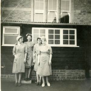 Dinner ladies at the back of Ross Primary School, Cantilupe Road, Ross-on-Wye