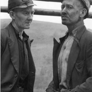 Portrait of two miners looking serious