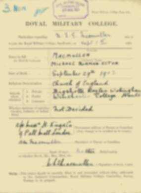 RMC Form 18A Personal Detail Sheets Feb & Sept 1922 Intake - page 93