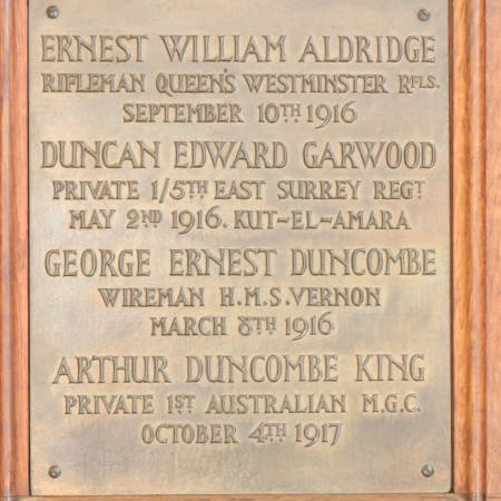 Memorial Plaque - Aldridge, Garwood, Duncombe & King