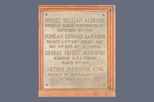 Memorial Plaque - Aldridge, Garwood, Duncombe & King