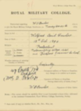 RMC Form 18A Personal Detail Sheets Jan 1915 Intake - page 126