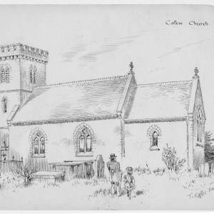Callow Church, Herefordshire, print by T Raffles