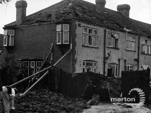 Bomb damage in Meadow Close, Raynes Park