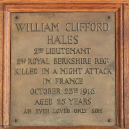Memorial Plaque - Hales