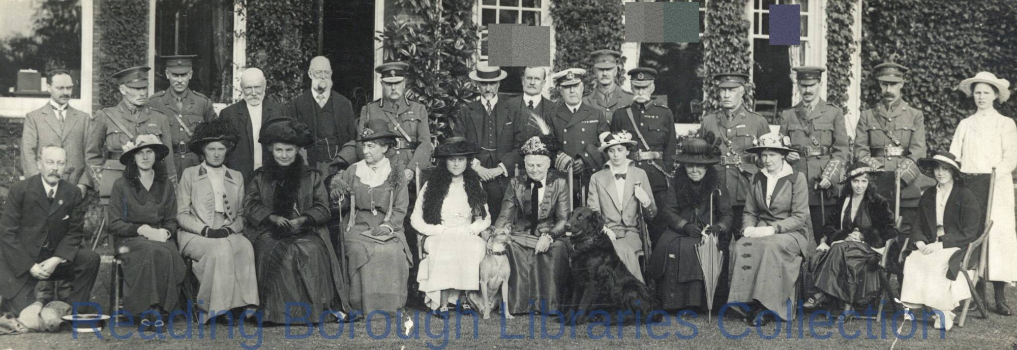 A Party of People Outside a Large House In or Near Reading, 1915, who had witnessed or taken part in a Recruiting Drive. Including Admiral Fleet, Leonard Goodhart Sutton, Sir Percy Sanderson, and Alderman Charles Gyningham Field.