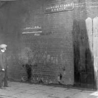 Akenside Street, Bootle, flooding depth markers, 1931