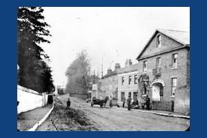 Mitcham Railway Station and the Crown Inn