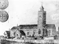 Engraving of Mitcham Parish Church