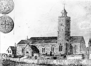 Engraving of Mitcham Parish Church