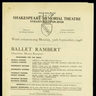 Shakespeare Memorial Theatre, Stratford-upon-Avon, September–October 1946