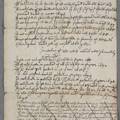 Inventory of writs produced for the chirurgeon apothecaries since 1505