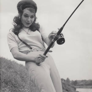 Actress Diana Day fishing on the River Wye