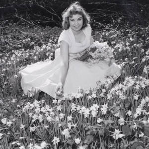Lady in a pale dress sitting and picking daffodils