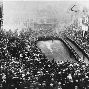 Military parade in High Town, Hereford