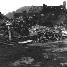 Bomb damage to Fort Street to Mile End Road