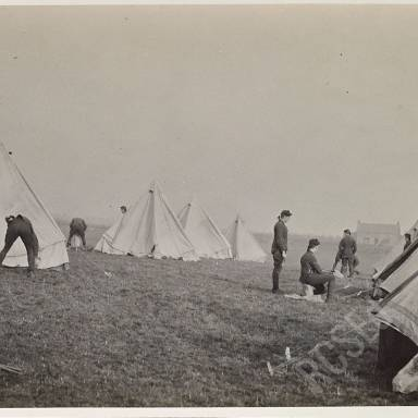 Pitching tents (Private Ainslie in foreground)