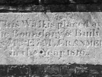 The Canons, Mitcham: Tablet in boundary wall