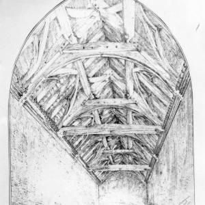Harley Court, Hereford, sketch of rafters