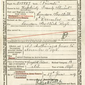 Certificate of disembodiment on demobilization, Private Frank Stuart Hopkirk, 17th June 1919