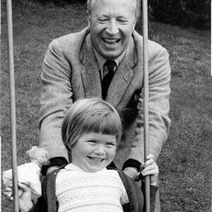 "159 - ""Ted Heath and god-daughter"" on swing"