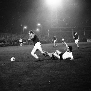 Bobby Moore and Billy Meadows in action - Hereford United v West Ham, Feb 1972.