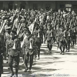 The Return of the Royal Berkshire Regiment 17 May 1919. The men move off across Station Square.