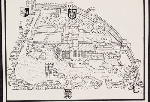 Plan of Exeter Cathedral Precincts, c1599, Exeter