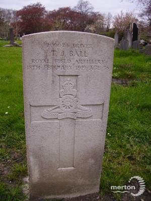 Gravestone of Thomas J Ball