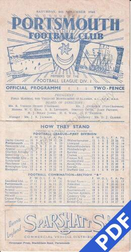 19481106 Official Programme Fulham Home FC