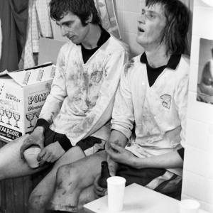 Colin Addison and Dudley Tyler in Hereford United's dressing room, Feb 1972.