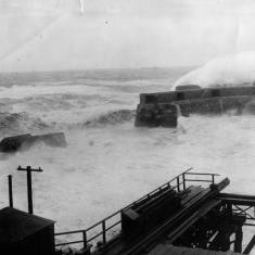 Breaching of North Pier, Tynemouth