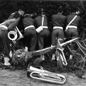 Bandsmen peering through trees.