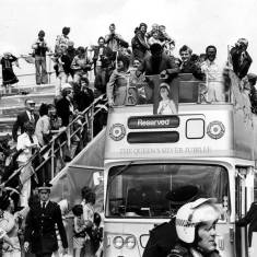 Muhammad Ali arriving at Gypsies Green on the open topped bus