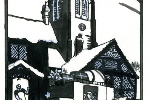Lino print of Church Green by Dorothea Rowlinson