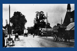Gap Road, Wimbledon Park: tram and delivery vehicles