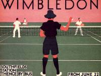 London Transport poster promoting the Wimbledon tennis championships